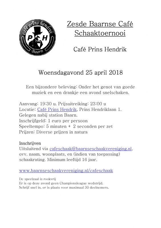 Aankondiging Zesde Baarnse Café Schaaktoernooi