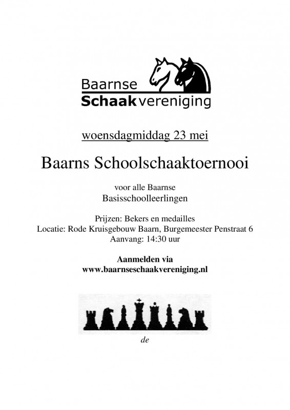 Baarns Schoolschaaktoernooi 23 mei