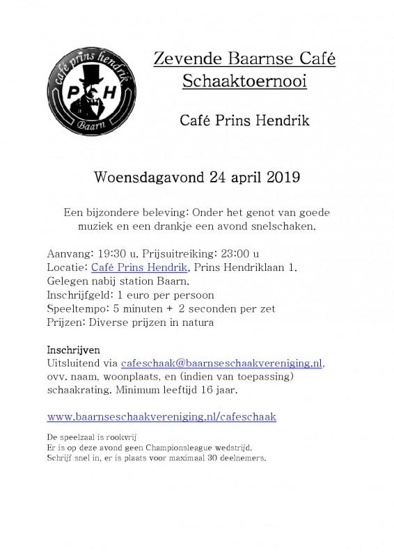 Aankondiging Zevende Baarnse Café Schaaktoernooi